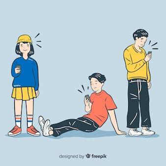 Jongeren die smartphones in koreaanse tekenstijl houden