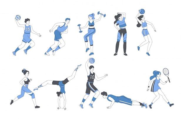 Jongeren die sportactiviteiten fitnesstraining doen of sportspellen spelen.