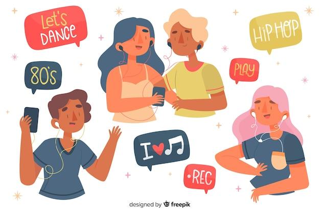 Jongeren die van muziek op oortelefoons genieten