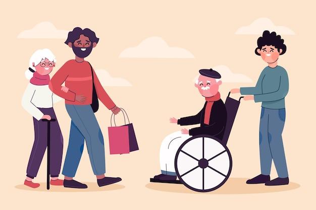 Jongeren die vrijwilligerswerk doen om de ouderlingen te helpen
