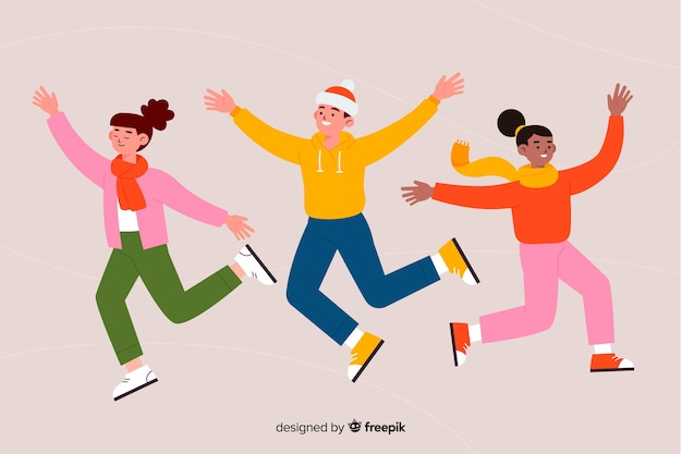Jongeren die winterkleren dragen die vlak design springen jonge mensen die winterkleren dragen die vlak ontwerp springen