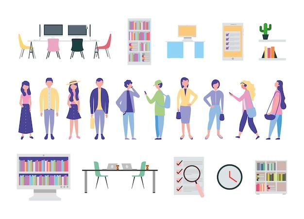 Jongeren en kantoorapparatuur pictogrammen