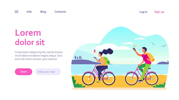 Jongeren fietsen en gebruiken smartphones. navigatie, fiets, netwerk. reis- en communicatieconcept voor websiteontwerp of bestemmingswebpagina