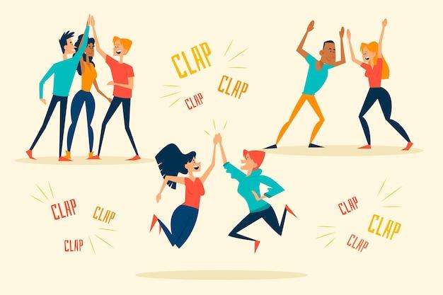 Jongeren geven high five en springen