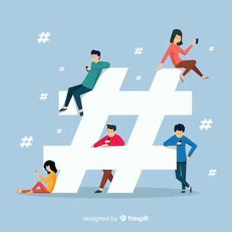 Jongeren hashtag concept achtergrond