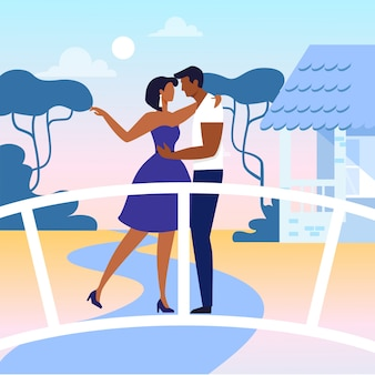 Jongeren in liefde platte vectorillustratie