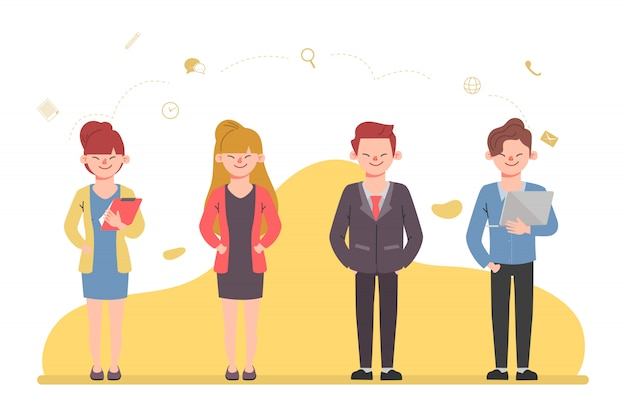 Jongeren karakter in kantoormedewerker mensen uit het bedrijfsleven mannen en vrouwen cartoon platte vector design.
