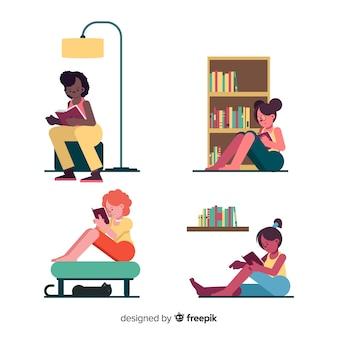 Jongeren lezen van een boekencollectie