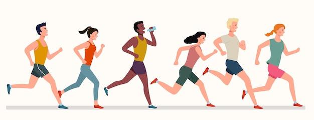 Jongeren lopen marathon. vector illustratie