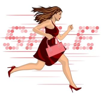 Jongeren lopen te koop vrouw in rode jurk