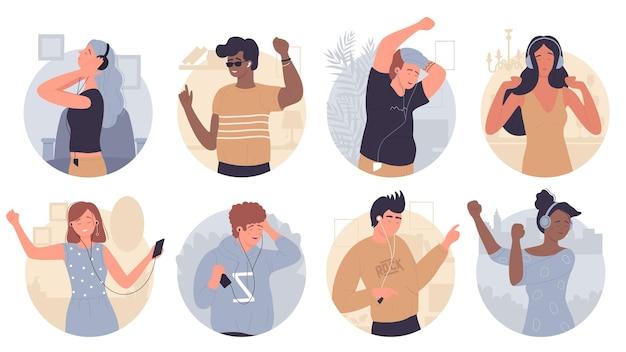 Jongeren luisteren muziekset genieten van geluid in oortelefoons op wit wordt geïsoleerd