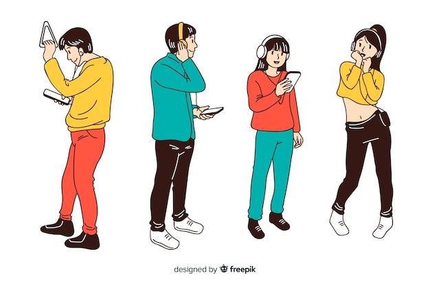 Jongeren luisteren naar muziek in koreaanse tekenstijl