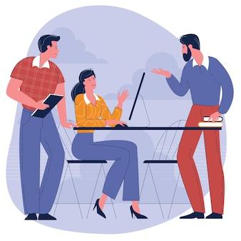 Jongeren, man en vrouw die deelnemen aan zakelijke bijeenkomst