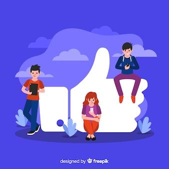 Jongeren met een duim als symbool