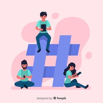 Jongeren met hashtag-symbool