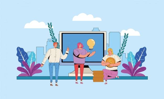 Jongeren met het financiële ontwerp van de bedrijfspictogrammenillustratie