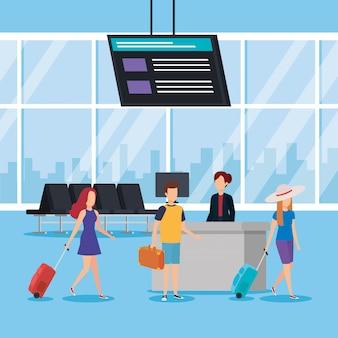 Jongeren met koffers op de luchthaven