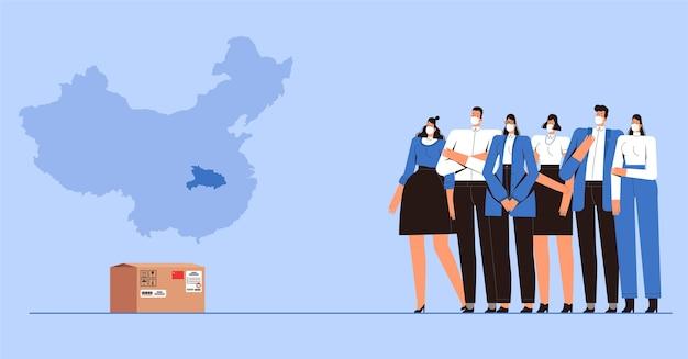 Jongeren met medische beschermingsmaskers zijn bang voor een pakket uit china vanwege het nieuwe 2019-ncov coronavirus. covid-2019 viruscontroleconcept. voorraad