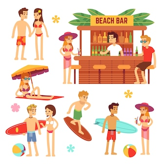 Jongeren op het strand zonnebaden. leuk paar op zomervakantie.