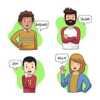 Jongeren praten in verschillende talen illustraties pack