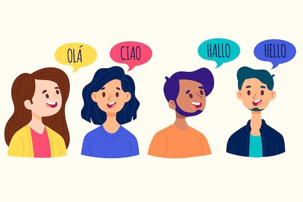 Jongeren praten in verschillende talen pack