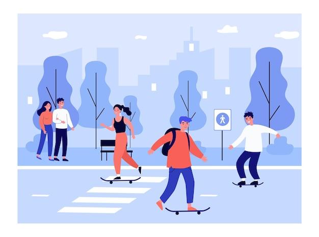 Jongeren skateboarden in stadsstraat, paar wandelen in park illustratie