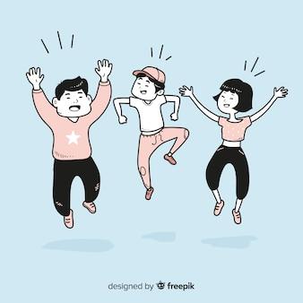 Jongeren springen in koreaanse tekenstijl