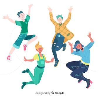 Jongeren springen plat ontwerp
