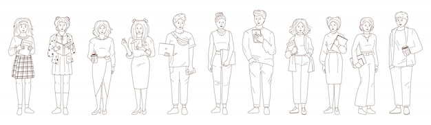 Jongeren student set. lijn zwart, wit. overzicht groep man dames casual kleding laptop, smartphone