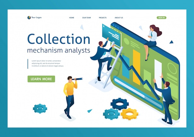 Jongeren verzamelen informatie voor gegevensanalyse. van jonge ondernemers. 3d isometrisch.