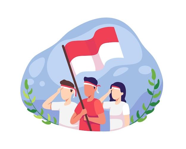 Jongeren vieren de onafhankelijkheidsdag van indonesië. onafhankelijkheidsdag indonesië op 17 augustus. mensen vieren de nationale onafhankelijkheidsdag en brengen hulde aan de indonesische vlag. vector in een vlakke stijl