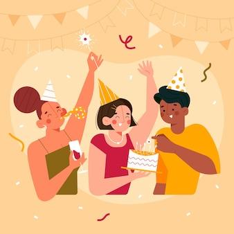 Jongeren vieren illustratie