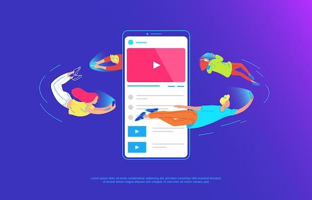 Jongeren vliegen rond met een grote smartphone en gebruiken hun eigen smartphones om te sms'en, video te delen en te chatten met vrienden. gradiëntconcept vectorillustratie van bruikbaarheid van mobiele telefoon