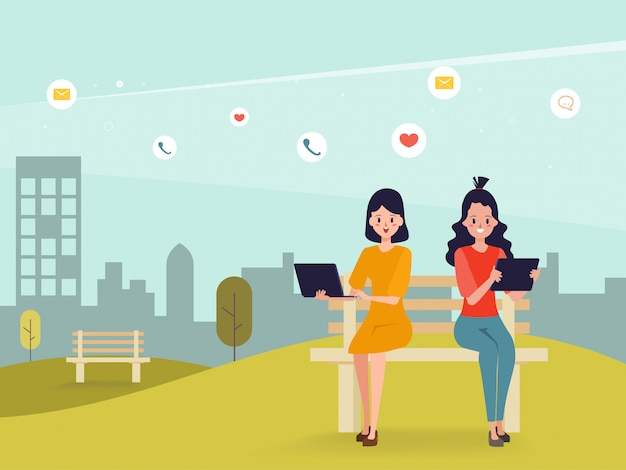 Jongeren zijn sociale media en communicatie.