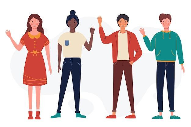 Jongeren zwaaien hand collectie