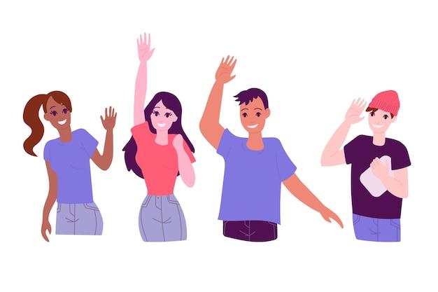 Jongeren zwaaien hand concept