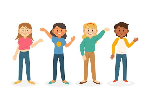 Jongeren zwaaien hand illustratie collectie