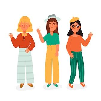 Jongeren zwaaien hand illustratie pack