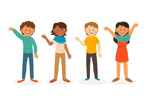 Jongeren zwaaien hand illustratie set