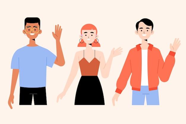 Jongeren zwaaien hand illustraties collectie