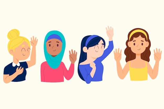 Jongeren zwaaien hand ingesteld