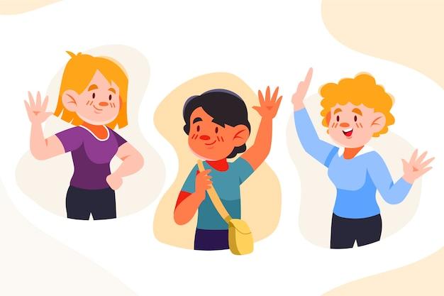 Jongeren zwaaiende handgroep