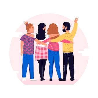 Jongerendag met mensen die elkaar knuffelen