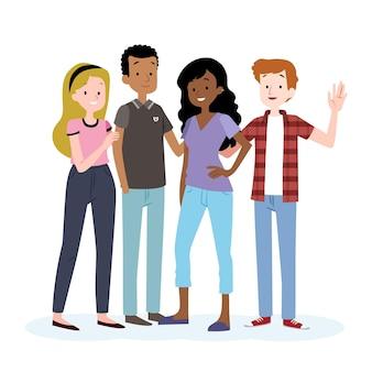 Jongerendag met mensen die elkaar omhelzen