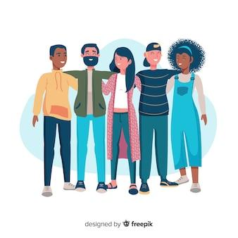 Jongerenmensen die achtergrond samen koesteren