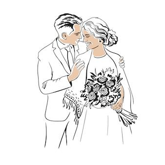 Jonggehuwden bruid en bruidegom knuffelen met een boeket