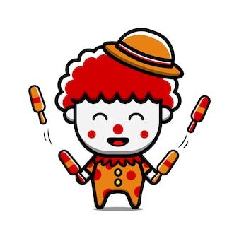 Jongleur clown karakter geïsoleerd