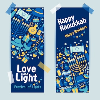 Joodse feestdag chanoeka banner donkerblauw set en uitnodiging traditionele chanoeka symbolen.