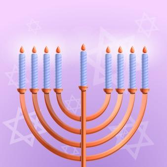 Joodse hanukkah achtergrond, cartoon stijl