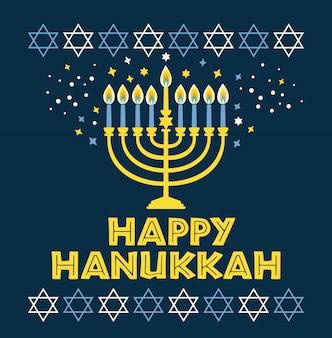 Joodse vakantie hanukkah wenskaart traditionele chanoeka - menorah kaarsen, ster david illustratie op blauw.